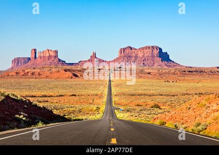 Scenic Road leading to Monument Valley - Stock Photo
