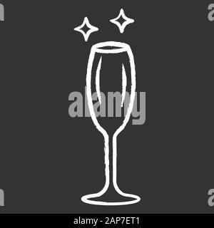 Empty wine glass chalk icon. Crystal glassware shapes and types. Glass for sparkling wine, champagne. Alcohol drinking preferences. Table serving serv - Stock Photo
