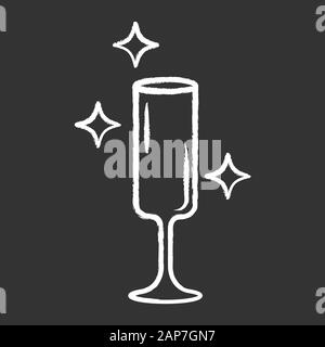 Flute wine glass chalk icon. Crystal glassware shapes and types. Glass for sparkling wine, champagne, cocktails. Alcohol drinking. Table serving servi - Stock Photo