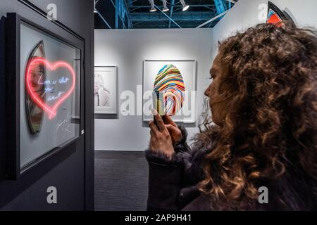 Islington, London, UK. 21st Jan, 2020. Love is what you Want, print by Tracey Emin - the Drang Gallery - The London Art Fair, at the Business Design Centre in Islington. Includes international galleries selling modern and contemporary artworks. Credit: Guy Bell/Alamy Live News - Stock Photo