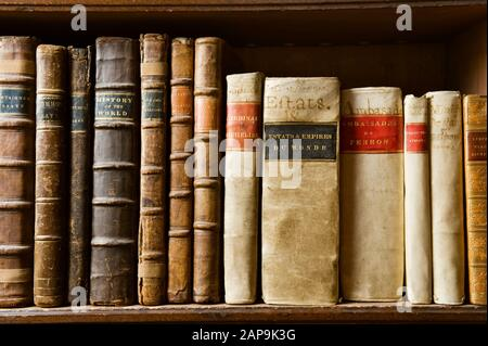 Books on the shelves in the Library, reflecting the interests of several generations of the Bankes family, at Kingston Lacy, Dorset.