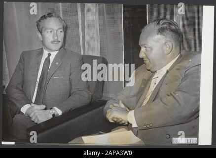 Colin Chapman, the manager of [racing driver] Jim Clark, who had been arrested by the Zandvoort police, was released by the prosecutor in Haarlem, provided that he was on 20 July. will appear before the police justice. After his release, Chapman (left) went to the Bouwes Palace Hotel in Zandvoort where he spoke to some press representatives. Next to him his lawyer Mr. A.S. Groen Annotation: Chapman was the team manager of Lotus, and also inventor and constructor of Lotus Cars Date: 19 July 1965 Location: Noord-Holland, Zandvoort Keywords: lawyers, managers, press conferences, releases Personal - Stock Photo