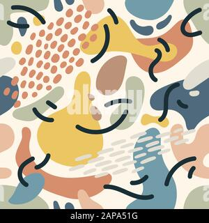 Seamless abstract pattern background with colorful elements. Trendy textile, fabric, wrapping. Surface design. Vector texture for your design. Simple - Stock Photo