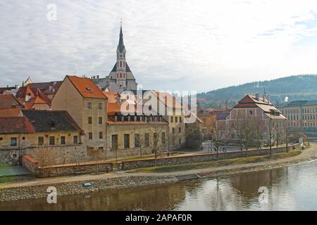City landscape with view on river and St. Vitus Church in Cesky Krumlov. Czech Republic. - Stock Photo