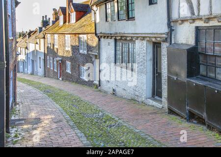 the cobbled keere street in ewes east sussex - Stock Photo