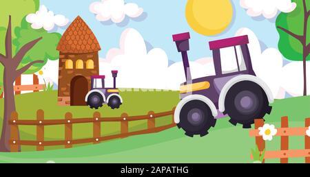 cottage tractors wooden fence flowers trees farm animal cartoon vector illustration - Stock Photo