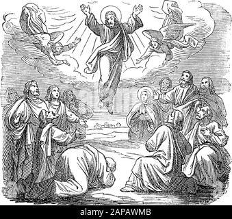 Antique vintage biblical religious engraving or drawing of resurrected Jesus is taken up to heaven.Bible, New Testament,gospel of Luke 24. Biblische Geschichte , Germany 1859. - Stock Photo