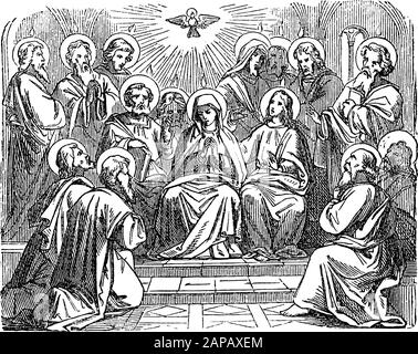 Antique vintage biblical religious engraving or drawing of choosing disciple Matthias as Judas successor as apostle. Bible, New Testament,Acts 1. Biblische Geschichte , Germany 1859. - Stock Photo