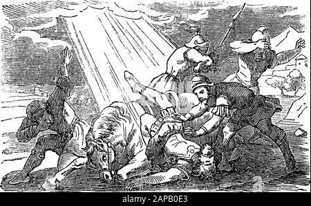 Antique vintage biblical religious engraving or drawing of story of Jesus speaking to Saul on the Damascus road.Bible, New Testament,Acts 9. Biblische Geschichte , Germany 1859. - Stock Photo