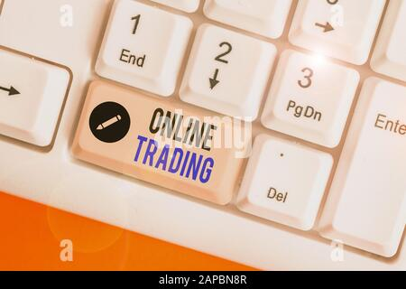Word writing text Online Trading. Business photo showcasing the buying and selling financial products on the web - Stock Photo