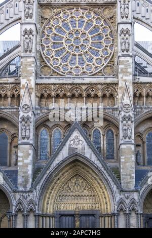 Westminster Abbey - the coronation church in Westminster, London - Stock Photo