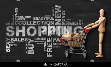 Wordcloud With Wooden Man And Shopping Cart Over Black Background - Stock Photo