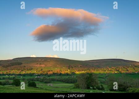 Evening clouds in the Yorkshire Dales near Aysgarth, North Yorkshire, England, UK