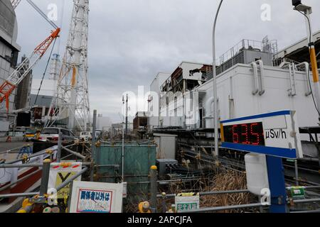 January 22, 2020, Okuma, Fukushima, Japan: A display shows radiation level between Unit 2 and 3 buildings of tsunami-devastated Tokyo Electric Power Company (TEPCO) Fukushima Daiichi Nuclear Power Plant in Okuma town, Fukushima Prefecture, 22 January 2020. The storage tanks including water processed in the ALPS will be full around summer of 2022, TEPCO has told. Japanese government need to decide soon how manage the processed water still including tritium.  (Credit Image: © Kimimasa Mayama/POOL via ZUMA Wire) - Stock Photo