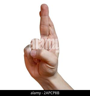 fingers crossed with white background. Hand gesture close up isolated. To satisfy a wish. Best of luck for your next exam as a student or all the best - Stock Photo
