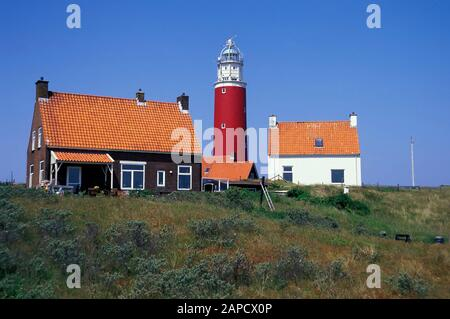 Lighthouse in the north of Texel Island, North Sea, Netherlands, Europe - Stock Photo
