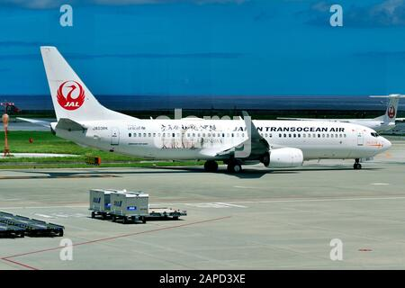 Japan Transocean Air, JTA, Boeing, B-737/800, JA03RK, Karate Livery, Taxi to TO, Naha Airport, Naha, Okinawa, Ryukyu Islands, Japan