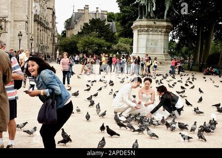 Street photograph of a Bridal Shoot with pigeons, statue of Charlemagne et ses Leudes at Cathédrale Notre-Dame de Paris. - Stock Photo