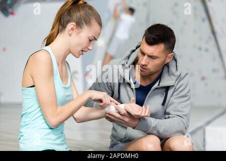 traumatologist is taking care of the patient - Stock Photo