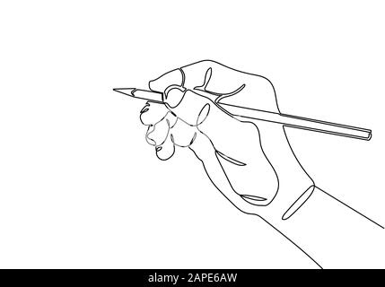 continuous line drawing of hand drawing line with pencil - Stock Photo