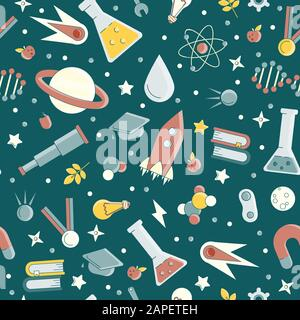 Back to school pattern. Science flat seamless pattern with scientific elements - molecule, atom structure, rocket, books, water and other on one - Stock Photo