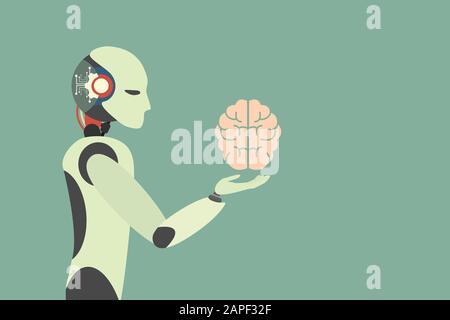 Human brain. Robot holding human brain. robotic  Automation technology Concept . Vector illustration flat design - Stock Photo