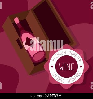 wine premium quality poster with bottle in box - Stock Photo