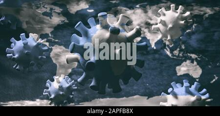 Coronavirus epidemic pandemic flu virus infection, spreading worldwide, earth globe background. 3d illustration