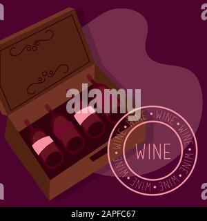 wine premium quality poster with bottles in box - Stock Photo