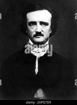 Vintage portrait photo of American writer, poet, editor and literary critic Edgar Allan Poe (1809 – 1849). Daguerreotype photo circa 1848 by W S Hartshorn. - Stock Photo
