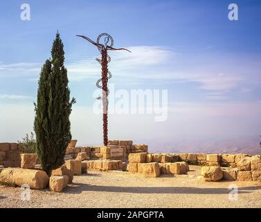 Jordan. Replica memorial of Moses Staff to the Prophet Moses who led the tribe of the Children of Israel through the Negev deserts and mountains  for 40 years until he reached Mount Nebo at the present day north Jordan town of Madaba from where he declared having found the Promised Land of the River Jordan. - Stock Photo