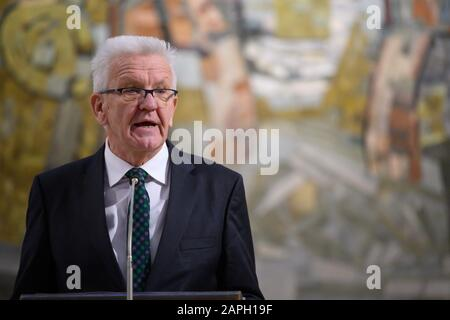 Stuttgart, Germany. 23rd Jan, 2020. Winfried Kretschmann (Bündnis 90/Die Grünen), Prime Minister of Baden-Württemberg, speaks during a memorial service commemorating the 75th anniversary of the execution of the Württemberg President Eugen Bolz. He was executed by the National Socialists in 1945 in Berlin-Plötzensee. Credit: Sebastian Gollnow/dpa/Alamy Live News - Stock Photo