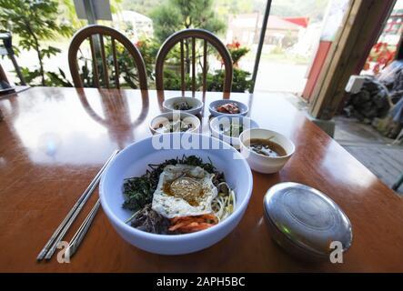 sanchae bibimbap at a local restaurant in Korea - Stock Photo