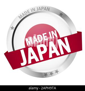 round button with banner, country flag and text MADE IN JAPAN - Stock Photo