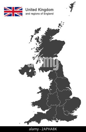 european country United Kingdom and regions of England - Stock Photo