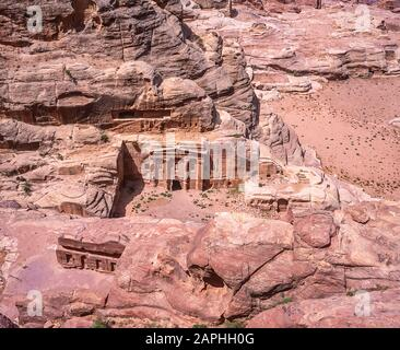 Jordan. Aerial view of the Roman Centurion burial temple at the World famous UNESCO World Heritage Site of the Nabatean and Roman ruins and relics at the desert town of Petra much used as a motion picture film set such as Indiana Jones Temple of Doom, now a very popular tourist attraction - Stock Photo