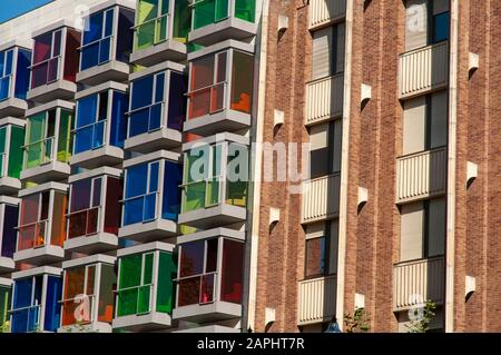 Building with multi-colored glass windows in the Hesperia Bilbao hotel, in the old town of Bilbao, Basque Country, in northern Spain, Europe - Stock Photo