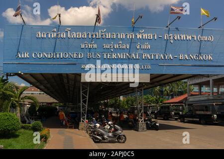 PATTAYA,THAILAND - OCTOBER 21,2019:Bus terminal(Near Pattaya Klang) At this small terminal starts and stops buses from and to Bangkok and the internat