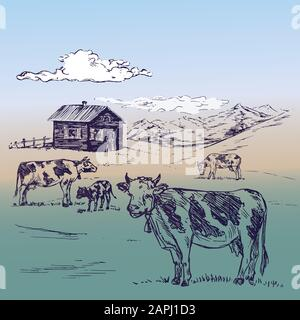 Small country house in mountains with cows herd on hills, hand drawn doodle, sketch, illustration on soft background Stock Photo