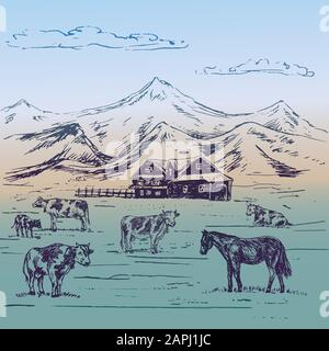 Small country house in mountains with cows herd and horse on hills, hand drawn doodle, sketch, illustration Stock Photo