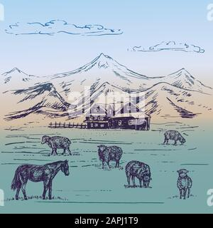 Small country house in mountains with sheeps herd and horse on hills, hand drawn doodle, sketch, illustration Stock Photo