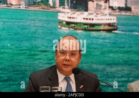 Hong Kong, China. 23rd Jan 2020. Acting Chief Executive of the Hong Kong Special Administrative Region (HKSAR) Matthew Cheung speaks at a press conference in Hong Kong, south China, Jan. 23, 2020. Hong Kong confirmed two cases of novel coronavirus pneumonia on Thursday for the first time after the infectious disease broke out in central China's Wuhan city. Matthew Cheung announced strengthened control measures in the high-speed railway station at a press conference in the evening. Credit: Xinhua/Alamy Live News - Stock Photo