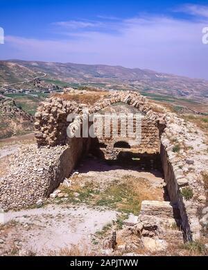 Jordan. The remains and ruins of what remains of the once mighty 12th century Qasr Al Kerak Crusader Fortress at Kerak - Stock Photo