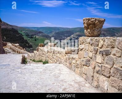 Jordan. The remains and ruins of what remains of the once mighty 12th century Qasr Al Kerak Crusader Fortress at Kerak and overlook of the adjacent countryside - Stock Photo
