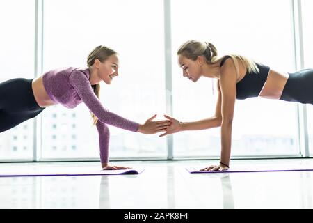 Diverse sportive female yogi stand on rubber mat giving high five in side plank position, toned millennial girls in sportswear practice yoga poses tog - Stock Photo