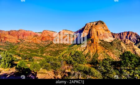 View of Nagunt Mesa, Shuntavi Butte and other Red Rock Peaks in Kolob Canyon, Zion National Park, Utah, US. Viewed from the Timber Creek Overlook