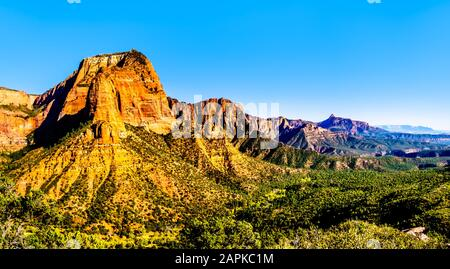 View of the Shuntavi Butte and other Red Rock Peaks of the Kolob Canyon part of Zion National Park, Utah, US. Viewed from the Timber Creek Lookout