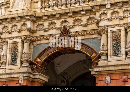 Beautiful view to old historic architecture building in central Buenos Aires, Argentina - Stock Photo
