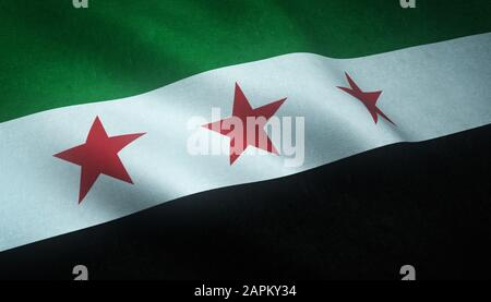 Closeup shot of the waving Independence flag of Syria with interesting textures - Stock Photo