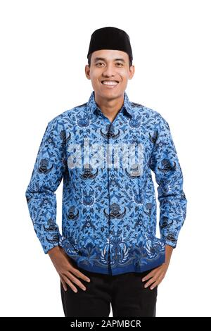 smiling young man wearing batik korpri with thumbs up hands government officials of indonesia stock photo alamy smiling young man wearing batik korpri
